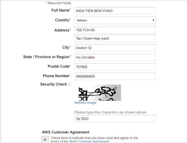 Đăng ký Amazon VPS miễn phí